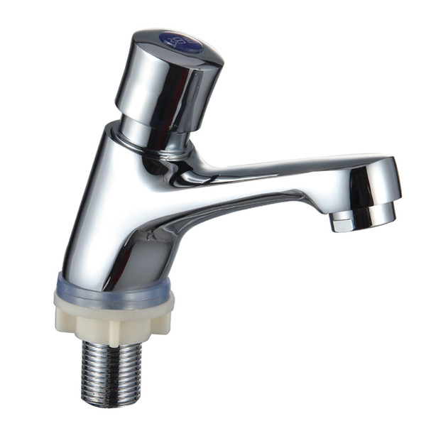 top popular Brass Basin mixer self-closing time delay single hole cold water basin taps faucets 2021