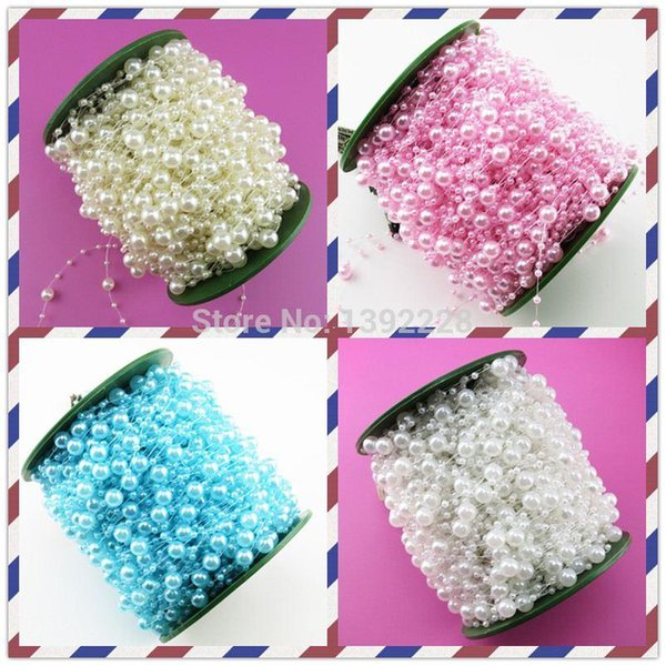 High Quality!19colors Wedding Decoration 60m/roll Pearl Bead Strands For Wedding Decoration Party,Rose,Table,Flower Garland,Car