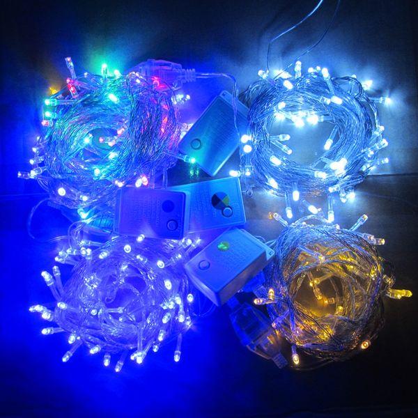 20M / 30M / 50M / 100M 600 LED guirlandes guirlandes décor de Noël s'allume en rouge / bleu / vert Colorfull lumières de Noël fête mariage lumières s'allume lumière scintillante