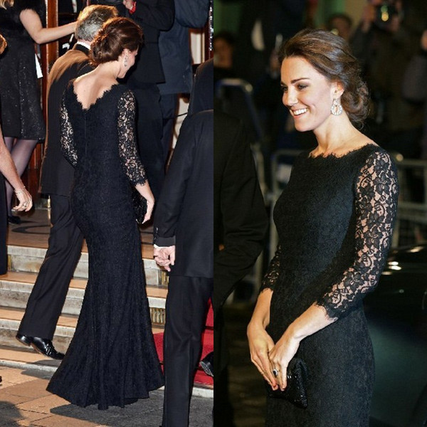 Modest Vintage Black Lace Long Formal Prom Dresses Kate Middleton Evening Gowns Custom Made Bateau Neck Illusion Sleeves Cheap High Quality