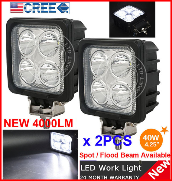 "DHL 2PCS 4.25"" 40W 4LED*10W CREE LED Driving Work Light Square Offroad SUV ATV 4WD 4x4 Spot / Flood Beam 12/24V 4000lm Truck Fog Headlamp"