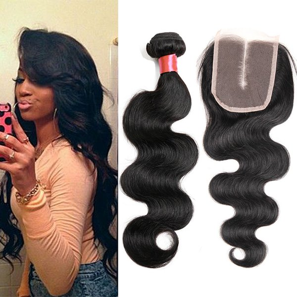 Top Lace Closure+4 Pcs Indian Grade 6A Body Wave Hair Bundles Indian Unprocessed Body Wave Hair Extensions