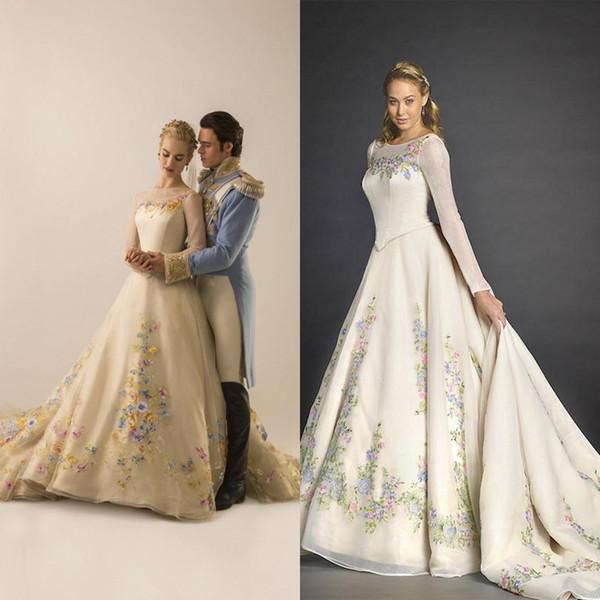 Real Imagem Branco Vestido de Baile Cinderela Vestidos de Casamento 2018 Tripulação Pescoço Sheer Mangas Compridas Bordados Flores A linha de Trem Da Varredura Vestidos de Noiva