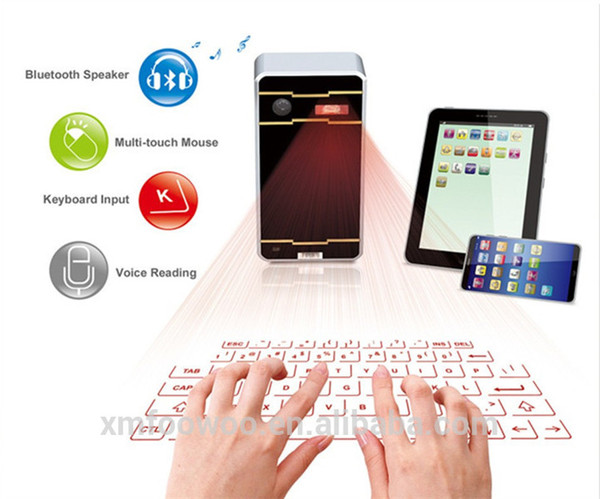 top popular 2016 hottest selling virtual laser keyboard with mouse bluetooth speaker for laptop iPad tablet pc smartphone via USB & bluetooth connection 2021