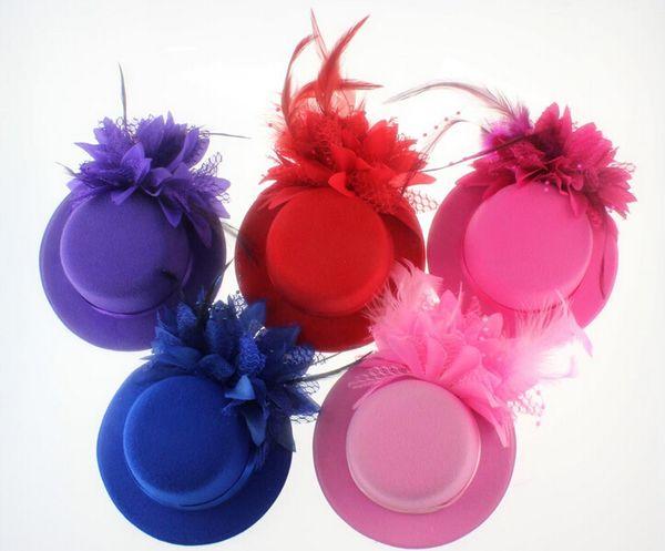 Women Bride Hat cap Wedding Ribbon Gauze lace Feather Flower Mini Top hats Fascinator party hair clips caps homburg for Bridal Headpiece