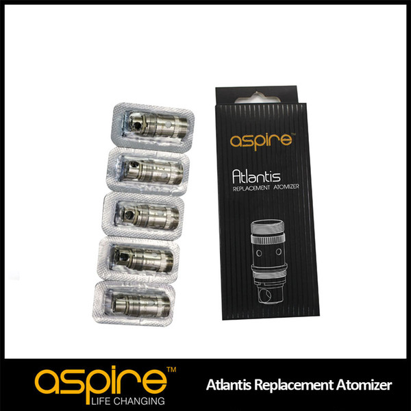best selling Wholesale - Newest Aspire Genuine Atlantis Sub ohm Coil for Aspire Newest Atlantis 2ml Tank huge vapor with better taste Free Shipping