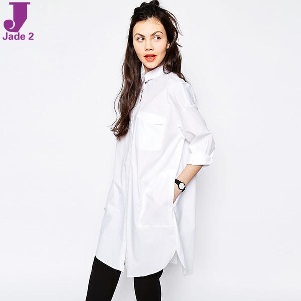 nicholatsang / Vogue Coreano Senhoras Primavera Novo 2016 Mulheres Casuais de Manga Longa Lapela Solto Namorado Estilo Mini Vestidos de Camisa Branca Atacado Frete