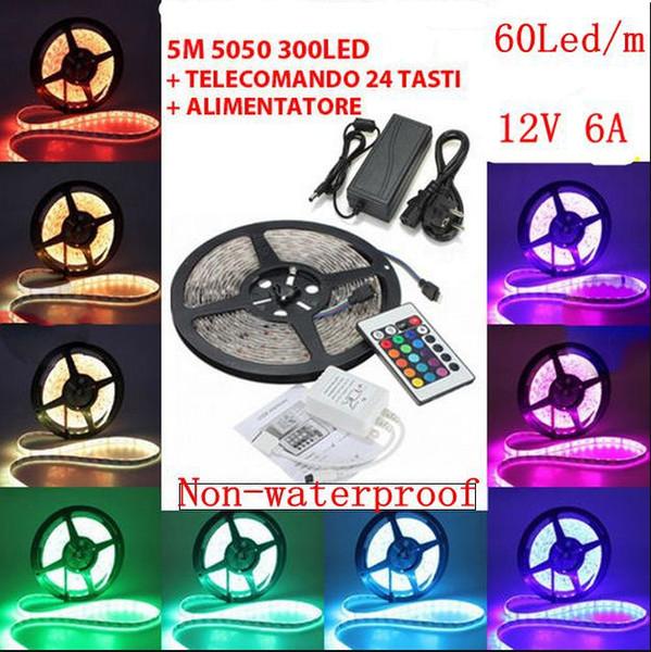 5m RGB 5050 SMD 12V гибкий свет 60 led / m 5050 не водонепроницаемая светодиодная лента с 24-клавишным ИК-пультом дистанционного управления + 6A трансформатор, dandys