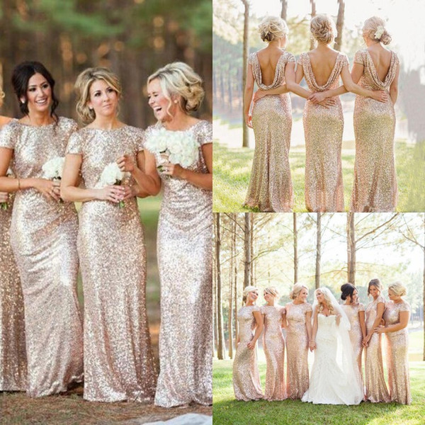 top popular 2019 Cheap Gold Sequins Sparkly Bridesmaid Dresses Plus Size Backless 2019 Long Wedding Party Guest Gowns Short Sleeves Custom Made 2019