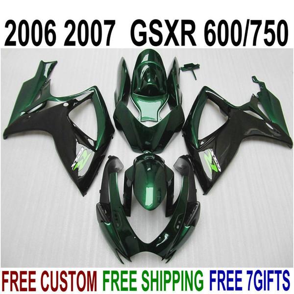 Lowest price fairing kit for SUZUKI GSXR600 GSXR750 06 07 K6 bright green black fairings set GSX-R 600 750 2006 2007 V29F