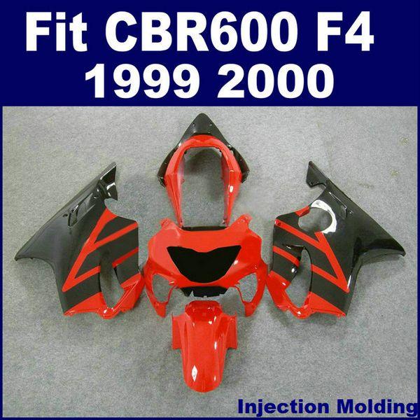 7Gifts +100% Injection molding fairing for HONDA CBR600 F4 1999 2000 black red 99 00 cbr 600 f4 fairings kits VGYD