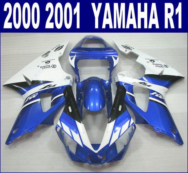 YAMAHA 2000 için yüksek kaliteli kaporta kiti 2001 YZF R1 YZF1000 00 01 mavi beyaz ABS kaporta seti RQ10 + 7 hediyeler
