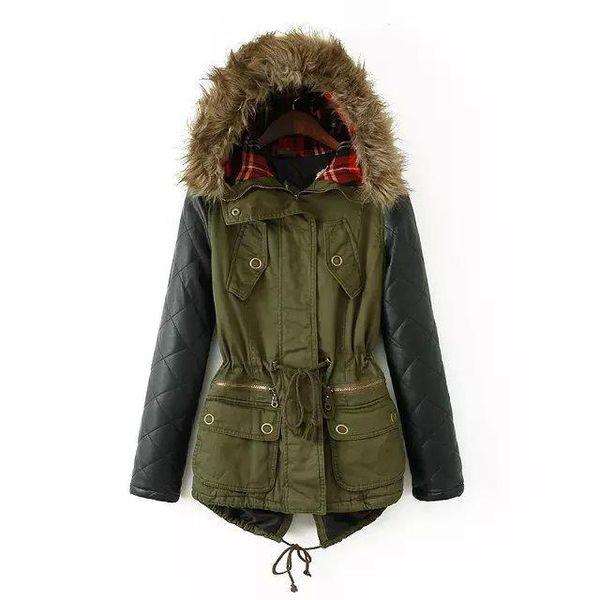 Winter Coat Women 2016 New Arrival Fashion Artificial Fur Collar Patchwork Zipper Leather Sleeve Cotton Jacket Parkas