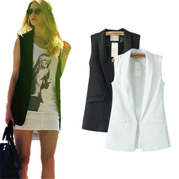All'ingrosso-Donne Moda elegante ufficio signora tasca cappotto gilet senza maniche giacca outwear casual marca WaistCoat colete feminino MJ73