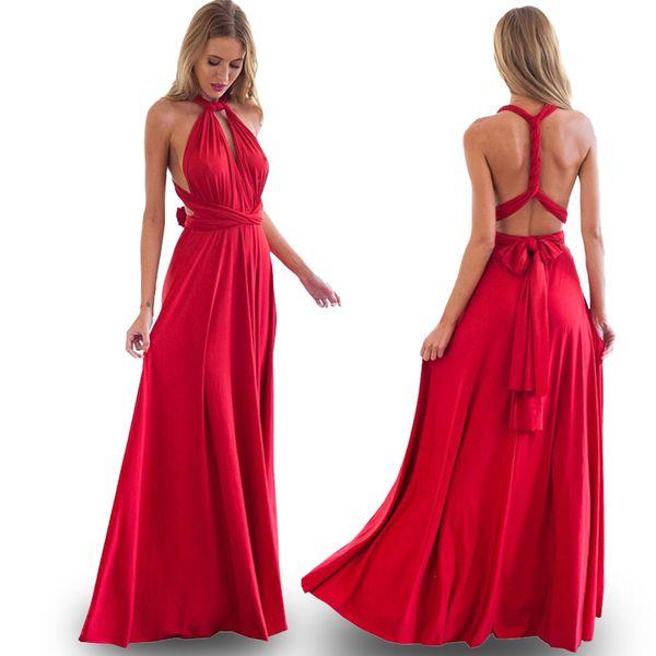 872897af3e3 Wholesale- 2017 Sexy Bohemian Maxi Club Dress Red Bandage Long Women Dress  Party Multiway Bridesmaids Convertible Robe Longue Femme Clothes