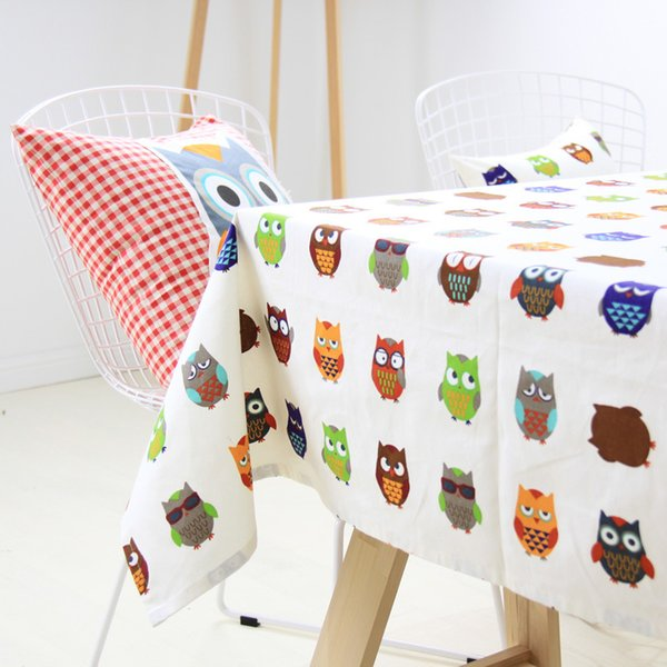 Cartoon Owl Table Cloth Lovely Color Cotton Party Table Cover Overlays Christmas Festive Decoration HOT Sale SD725
