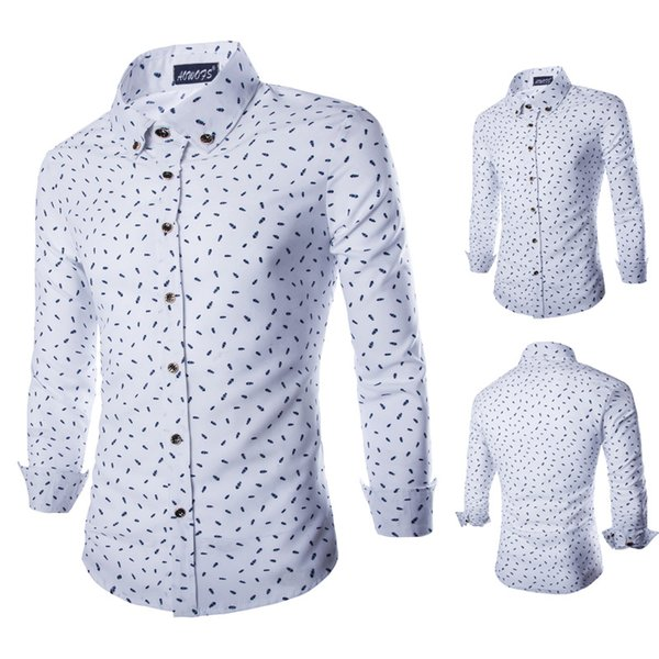 Camisas Rushed Camisas Hombre Camisa Masculina Leisure Men's Shirts High Cotton Fish Bones Printing Long Sleeved Shirt Y026