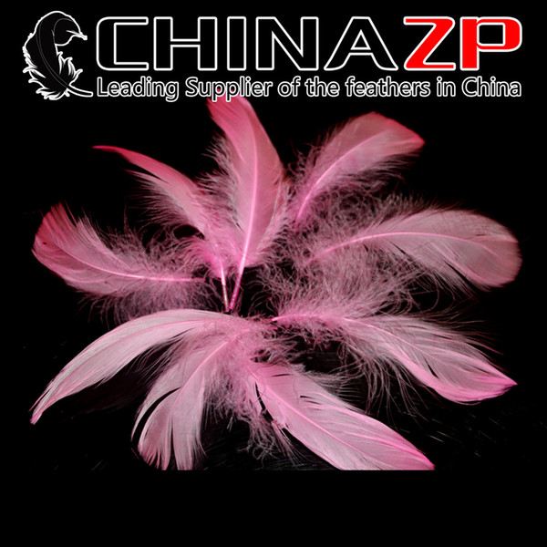 Gold Plumage Supplier CHINAZP Crafts Factory 8~15cm(3~6inch) Top Quality Dyed Pink Goose Coquille Loose Feathers