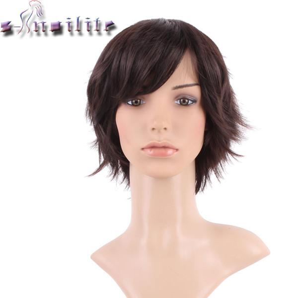 S-Noilite Perruque de Cheveux de Fête Cosplay Droite Transparente Perruque Courte Synthétique Brun Foncé Pour Femmes