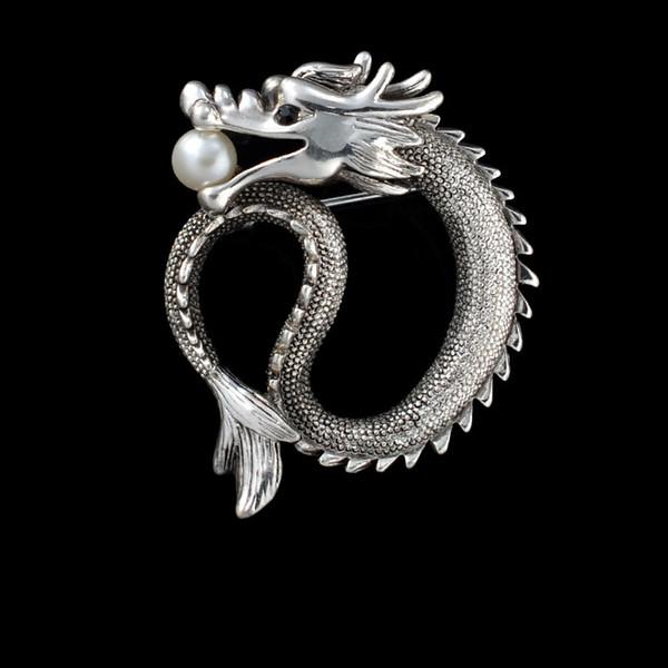 Gioielli di moda Braccialetti di perle Vintage Argento placcato in oro Antico Drago Grandi spille per uomo Donna 1pz / lotto