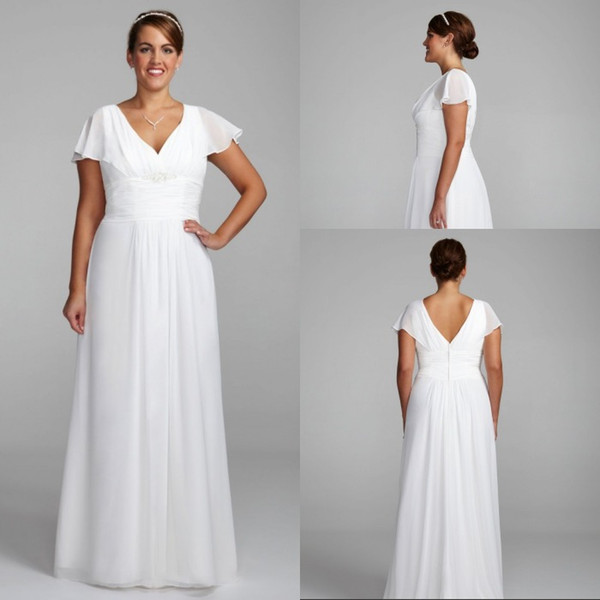 Discount Beach Style A Line V Neck Sweep Length Chiffon White Wedding Dresses With Short Sleeve Plus Size Wedding Gowns Bridal Under 100 Dollars