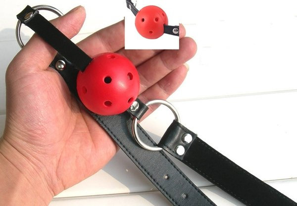 Wholesale-Hot sale Sexy 40mm Leather Harness Mouth Soft Solid Rubber Red Gag Ball Plug free ship