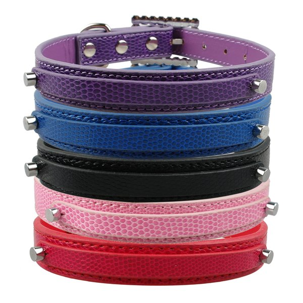 5 Colors Personalized Snakeskin Leather Puppy Dog Cat Customised Collars Rhinestone Buckles For 10mm letter and Charms