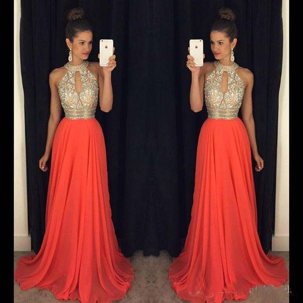 best selling Prom Dresses 2016 High Neck Evening Dresses Cheap Bridesmaid Dresses Orange Long Dresses Evening Wear Wedding Evening Gowns Sexy Ball Gowns