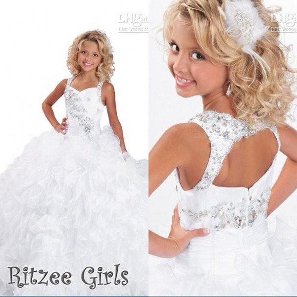 2015 Crystals Beaded Pageant Gowns for Little Girls Ritzee Spaghetti Straps Luxury Ruffles Floor Length Flower Girl Little Formal Dresses