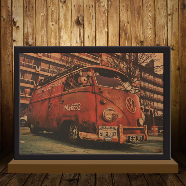 Vintage Signs Bus Retro Painting Car Bar Antique Wall Decoration Poster Wall Sticker