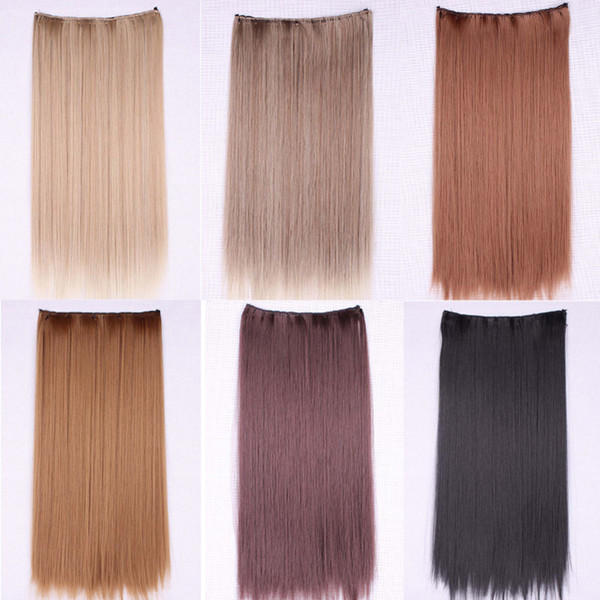 """24"""" 60cm Long Ladies Heat Resistant Fiber Synthetic Clip On Hair Extensions Multicolor Women 5 Clips Straight Hairpiece Accessories"""