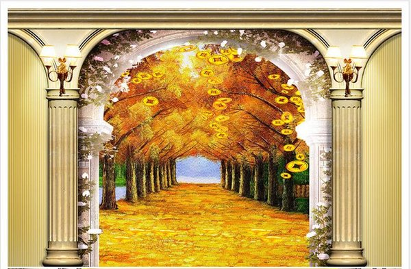 Custom photo wallpaper Large 3D sofa TV background wallpaper mural wall Roman Gold Avenue 3d mural wallpaper 201510576