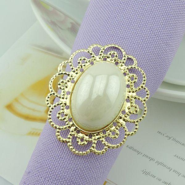 Luxury Gold Metal Big White Pearl Flower Stili Anelli di tovagliolo Napkin Fibbia per ricevimento di nozze Decorazioni da tavola per feste Forniture