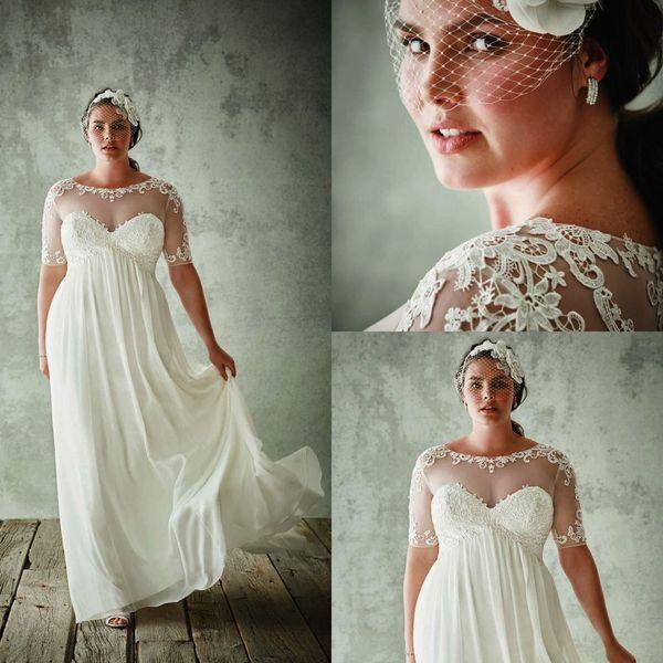 Moda Plus Size vestidos de noiva com mangas meia Sheer Jewel Neck A linha Lace Appliqued vestidos de noiva Chiffon Império cintura vestido de noiva