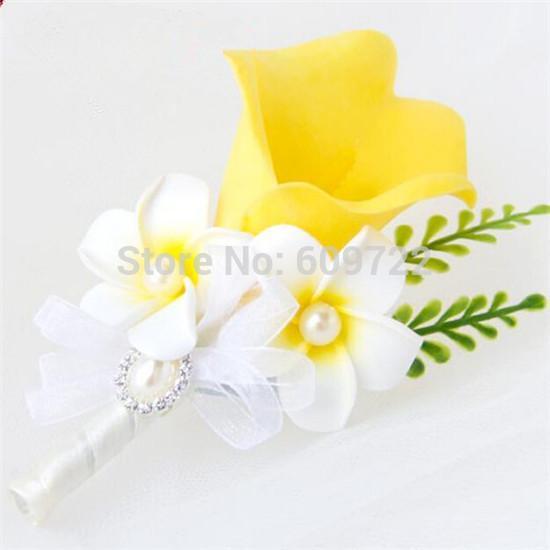 6 unids PU Prom Decoración de la boda Artificial Calla Lily Frangipani Novio Traje Boutonniere Ramillete Flor Broche Pin amarillo FL1746