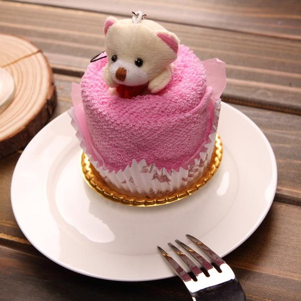 2016 New Lovely Teddy Bear Cake Towel 30*30cm mini towel Wedding Christmas Valentines birthday gifts Baby shower favors gift souvenirs