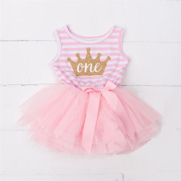 Princess Dress Girl 2016 New Brand Baby Girls Stripe Vest Dresses Tutu Baby Kids Clothing For 1 Year Birthday Infant Party Dress