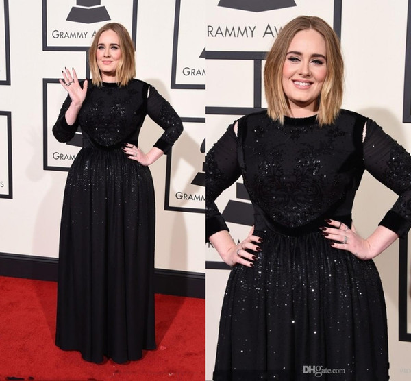 2016 New 58th Grammy Adele Evening Dresses Black Satin Long Sleeves ...