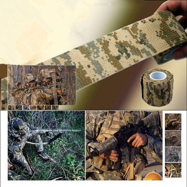 Spedizione gratuita 4.5M / Roll Camo Stretch Bandage, Camping Caccia Camouflage Tape per Gun, Cloths Hot