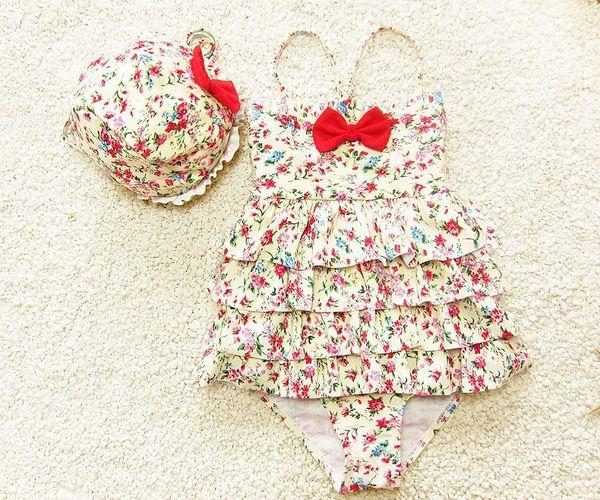 top popular toddler girl floral swim suit ruffle one piece swimwear baby swimsuit hat 3 piece swim girl kids girls swimwear with bow free shipping BY000 2020