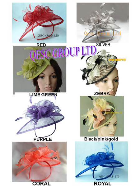 best selling FREE SHIPPING! HOT Sinamay Fascinator hat in SPECIAL Shape with Feather for wedding church races party,8 colors