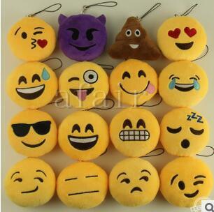 best selling 2016 fashion QQ Key Chains 5cm 8cm Emoji Smiley Small Keychain Emotion Yellow QQ Expression Stuffed Plush Doll Toy for Mobile Pendant