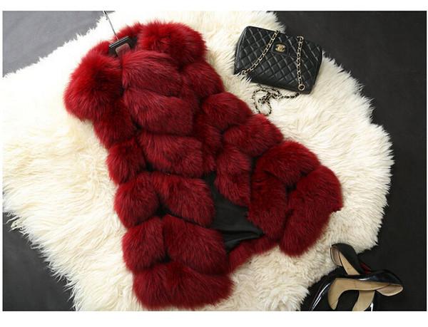 wholesale-8 colors fashion yang girls long style fox fur vest fox fur coats rabbit fur clothes woman faux fur jacket