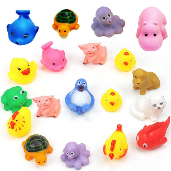 MINI Cartoon Animals Rubber Dolls Baby Bathing Water Toys Press Sounds Kids Swiming Beach Gifts Sand Play Water Fun Children Toys 100pcs/lot