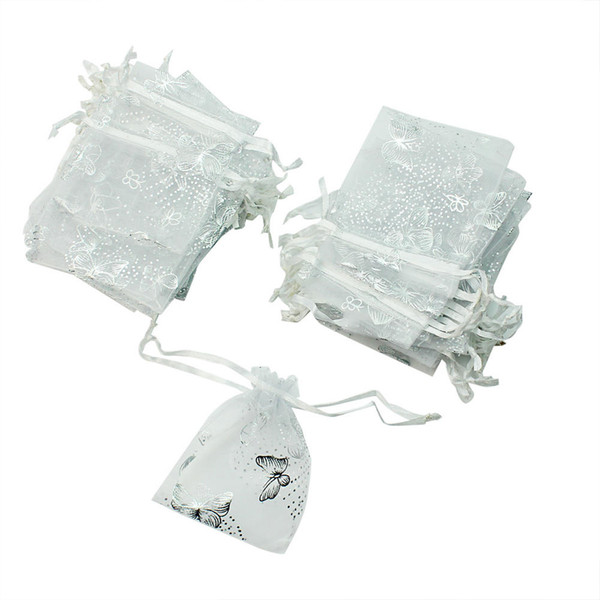 Wholesale- 50pcs/Lot Small White Butterfly Organza Jewelry Gift Candy Bags Drawstring Packing Pouches Christmas Wedding Party Favors 7x8cm