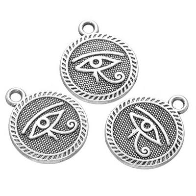 200 pcs antique siver evil eye pendants charms good for garment bags DIY craft free shipping