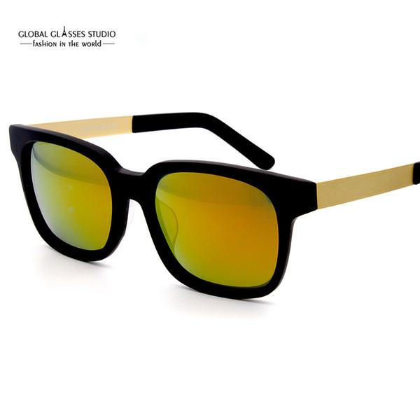 Fashion Famous Brand Design Acetate Sunglasses Men Driving Sun Glass Mirror Lens Super Thin Metal Temple Outdoor Eye-wear RFT7005