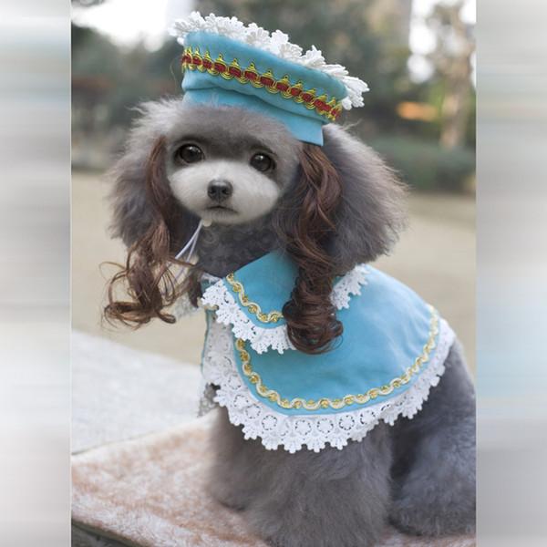 Atacado-Princess roupas para cães de estimação princesa manto ternos Princesa Ann ternos com chapéu e perucas e manto