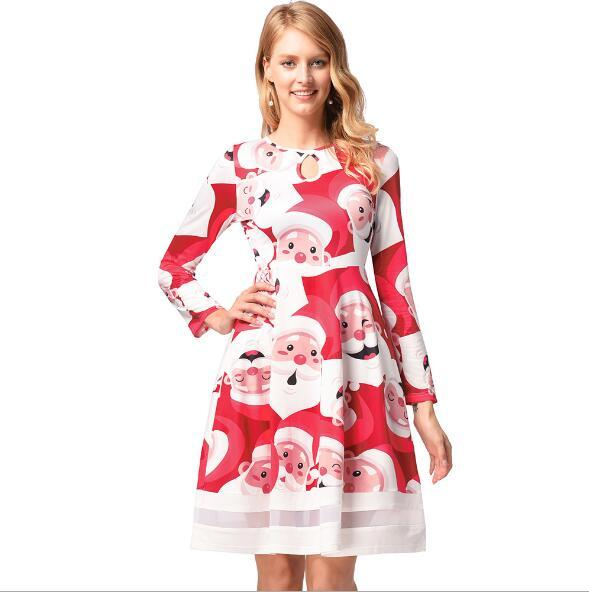 Christmas Europe and the United States spot cartoon printing mesh splicing dress 2017 autumn and winter long-sleeved women dress