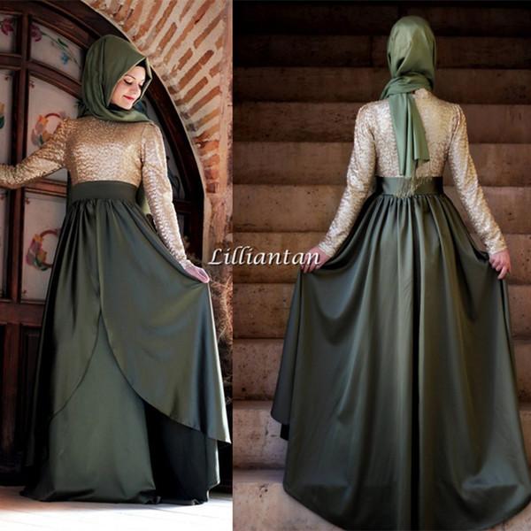 Nuevos vestidos de noche modestos musulmanes Árabe Abayas Dubai Ropa formal Vestidos de fiesta de manga larga Satén con gradas Falda Kaftan Mujeres Ropa Barato
